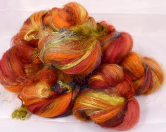 Chunky / Textured Sticklebatts-#51-(4.3 oz.) merino, llama ,silk threads, flax,  mohair curls,  bamboo, silk, silk noil,angelina