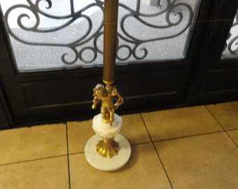 Sale!! Fabulous Vintage Hollywood Regency Cupid Marble Top Pedestal