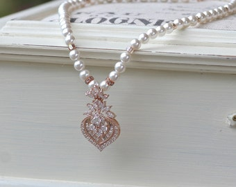 Rose Gold Crystal Necklace, Pearl Bridal Necklace, Silver Wedding Necklace or Rose Gold Wedding Necklace, TAYLOR P