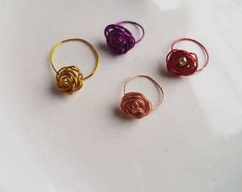 Delicate Rose Ring   Wire Wrapped   Colours Available