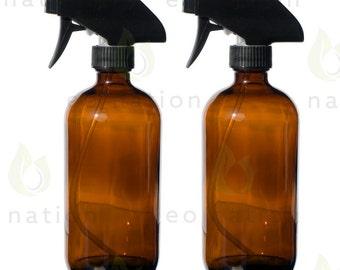 2 Pack - 16 oz Amber Glass Bottles with Black Trigger Sprayer