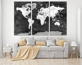 FRAMED Black and White World Map Push Pin Canvas Wall Art, Travel Map of World, Vintage Map, Push Pin Map, Push Pin World Map, Ready to Hang
