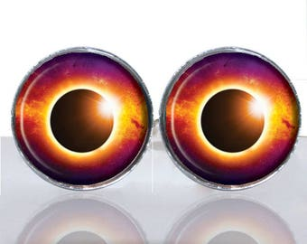 Solar Eclipse Round Glass Tile Cuff Links