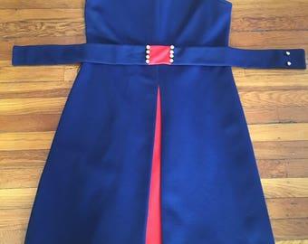 Kicky 60's Navy and Red Mod Dress