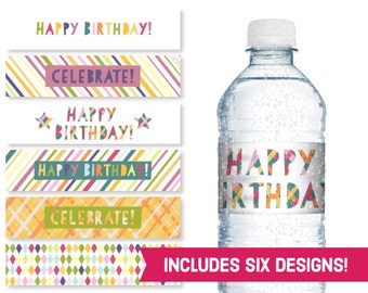 Happy Birthday Water Bottle Labels - Celebrate Birthday Party Supplies - Children's Birthday DIY Labels - Kids B-Day Party Printables S1182