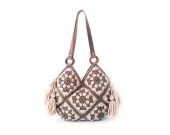 Rose sand crochet handbag large crochet bag shoulder bag boho crochet purse large crochet bag hippie purse bohemian tote bag leather handles