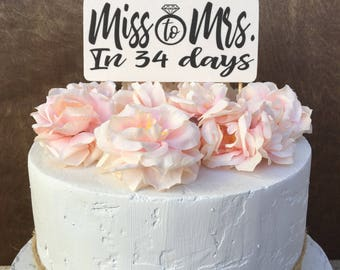 Bridal Shower Cake Topper Banner Wood Cake Topper Miss To Mrs Cake Topper Rustic Country Shabby Chic Cake Topper Bridal Shower Decorations