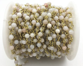 4mm faceted Opal Gold Plated Rosary Gemstone Chain. Sale by Foot