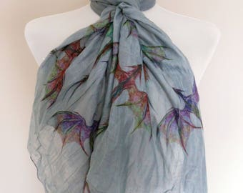 Dragon scarf. Grey scarf with colourful Dragon print. Boho scarves.