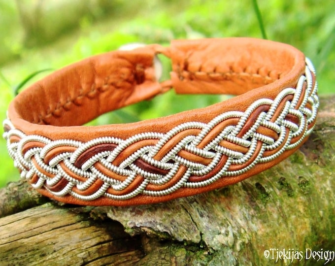 Leather Viking Bracelet Cuff FREKI Bark Brown Reindeer decorated with Pewter Braid and Custom Handmade to Your Wishes