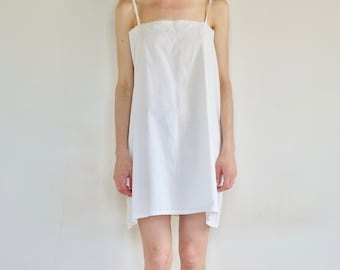 30's embroidered white cotton nightgown / slip dress