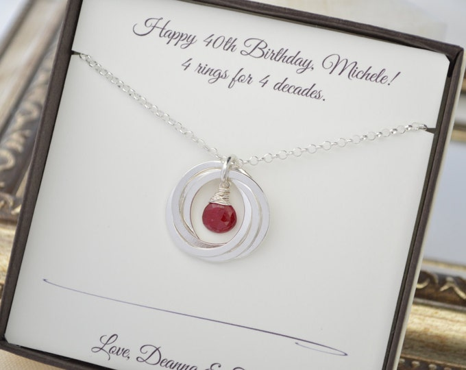40th Birthday gift for women, 4 Sisters Necklace, 4th Anniversary gift for wife, Sister Jewelry, July birthstone necklace, 4 Interlocking