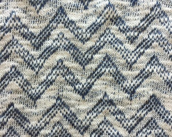 Soft Chevron French Terry In Navy Blue/white. Knit Fabric