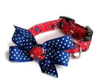 Speckled Stars Patriotic Dog Collar size Extra Small