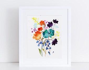 Watercolor Print, Flowers, Vase, Fine Art, Floral, Modern Art, Ink, Minimalist, Floral Bouquet, Abstract Art, Bohemian