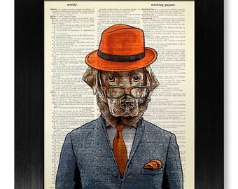 Labrador Art, Dog Art Print, Geek GIFT Man, Dog PAINTING, Dog Wall Art, Dog Illustration, Dog Wall Decor, Office POSTER, Retriever Suit Hat