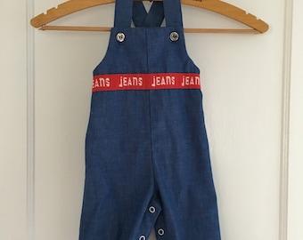 """Vintage 1970s Denim-Look Healthtex """"Jeans"""" Overalls 6m"""
