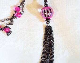 "Cynthia Lynn ""ELECTRIC"" Bright Pink Black Hematite Tassel Necklace"