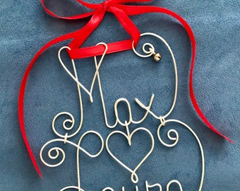 Custom Couple's Christmas Ornament~Silver/Gold Wire~Red/Green Ribbon~The Original~Holiday Decor~Personalized~Any Names~Double Name Ornament