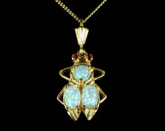 Opal Beetle Pendant Necklace Ruby Eyes