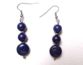 Dangle earrings Silver 925 lapis lazuli.  .