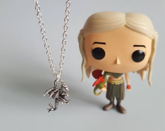 Dragon Charm Necklace, Daenerys Targaryen, Game of Thrones, Mother of Dragons, Khaleesi, Handmade Silver Charm Necklace