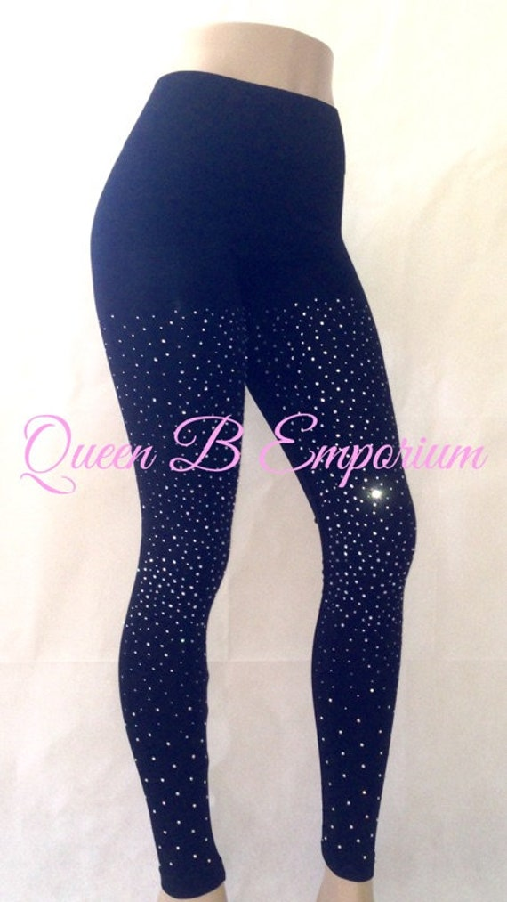 Black Scattered Rhinestone Crystal Shiny Silk soft stretchable Wide Waistband Iced Out Queen B Emporium Leggings