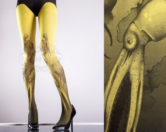 Yellow Octopuses Closed Toe one size full length printed tights pantyhose tattoo socks tattoo tights