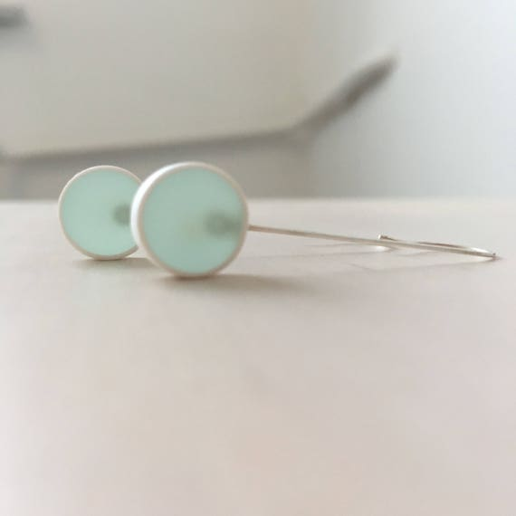 Translucent light teal blue earrings - sterling silver pins - bubble, round, circle, disc shaped - graphic minimalist contemporary jewelry