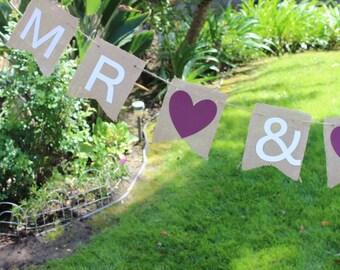 Burlap MR & MRS Banner/ Rustic Wedding/Wedding Decor