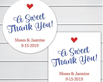 A Sweet Thank You Favor Stickers, Wedding Favor Sticker, Favor Stickers, Favor labels (#429)