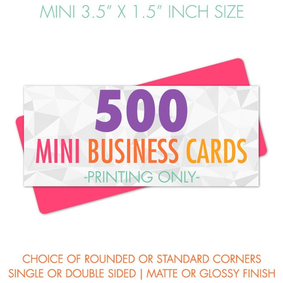 Mini business card printing 500 cards full color glossy or reheart Choice Image