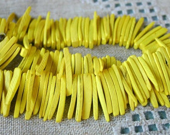 Dark Yellow Sticks Wood Beads Top-Drilled Stick 25x4mm 16 Inches Coconut Palm