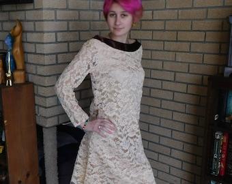 Vintage Creme farbige Spitzenkleid