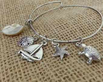 Beach Themed bangle bracelet