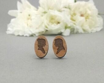 Star Wars Han Solo and Princess Leia Earrings - Laser Engraved on Alder Wood - Hypoallergenic Titanium Post Earrings