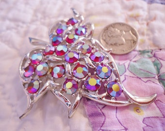 Vintage Sarah Coventry Red Aurora Borealis Rhinestones Leaf Pin/Brooch or Pendant