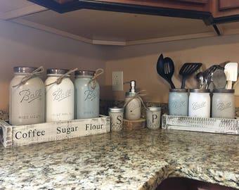 mason jar utensil holder, soap dispenser, mason jar soap dispenser, salt and pepper shaker, mason jar kitchen set, utensil holder, farmhouse