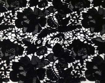 Floral Embroidered Chemical Lace - Black Lace Fabric - Premium Lace -Viscose / rayon lace-L5