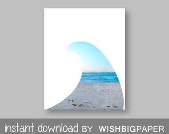 Beach Wall Art Print - Instant Download. Beach Photo Printable. Modern Beach Photo Wall Art. Beach Print. Beach Themed Art. Surf.