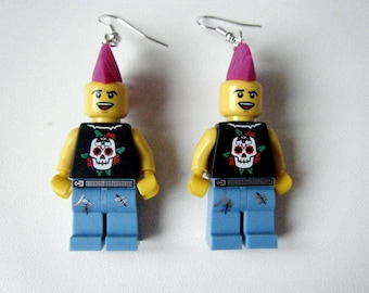 Earrings ♥ Lego Figurines punk rocker ♥