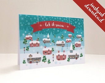 Print-your-own Christmas Cards: Vintage Christmas Village printable A6 Cards, instant download