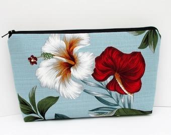 Make-up Bag, Cosmetic Zipper Pouch, Retro Hawaiian Hibiscus on Pale Blue, Barkcloth