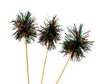 Sparkle Red and Green Tinsel Drink Stirrers 12CT, Holiday Swizzle Sticks, Cake Toppers, Christmas Tinsel Toppers