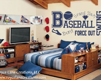 Baseball Wall Decal B13 Sports Vinyl Wall Decal Baseball Boys Room Teen Boy Room Decor Wall Art Baseball Decor Baseball Wall Decal