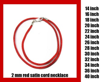 Red Satin Cord Necklace With Lobster Clasp, 2 mm Cord, Choose Length 14 inch to 40 inch, Silver Plated Clasp or Gold Plated Clasp