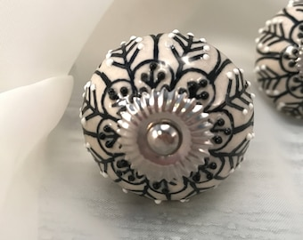 Knobs, Black & White Ceramic Tomato Knob With Floral Design, Hand Painted Dresser Drawer Pulls, Cabinet Pull, Item #514395651