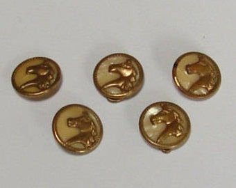 Vintage Brass Metal Buttons with Horse Head in Center