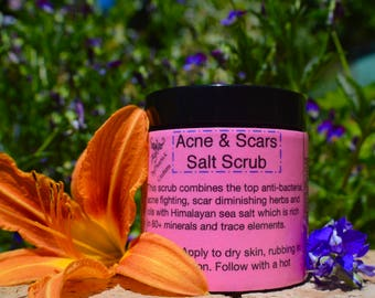Organic Acne & Scars Salt Scrub-Raw, Vegan, For Face or Body, high in vitamins, antioxidants and 80+ minerals.