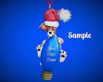 Brindle & white Greyhound Santa Dog Christmas Light Bulb Ornament Sally's Bits of Clay PERSONALIZED FREE with dog's name